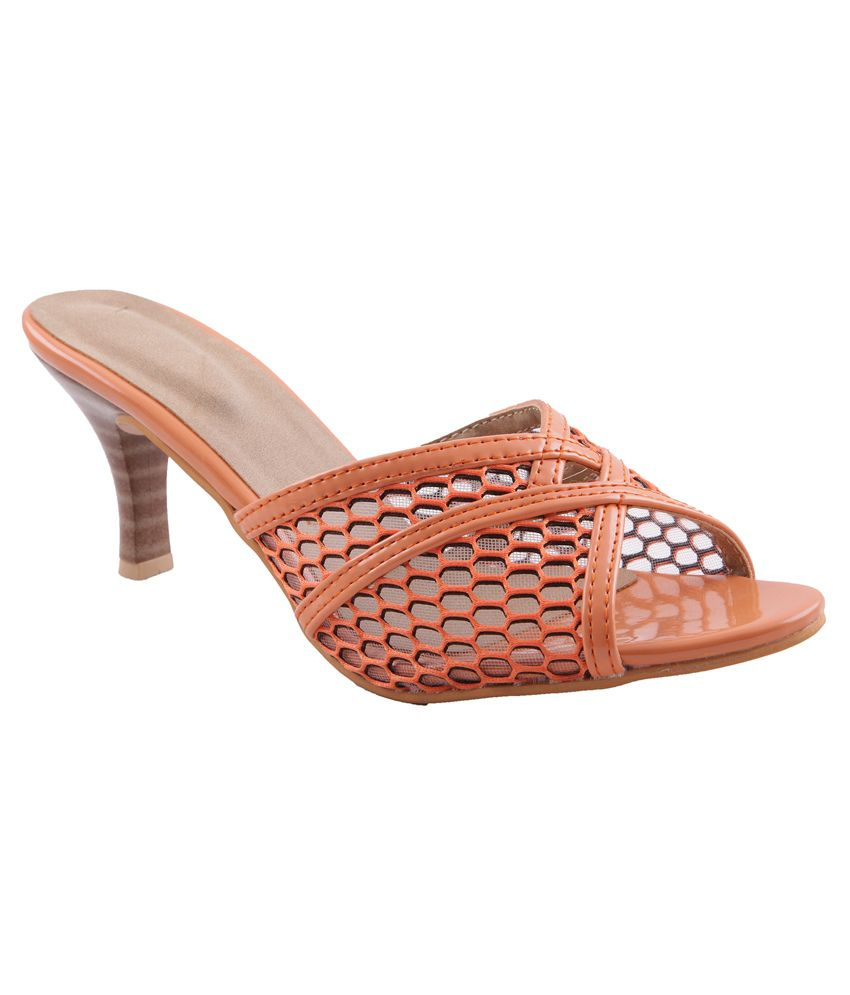 orange kitten heel sandals heels zone