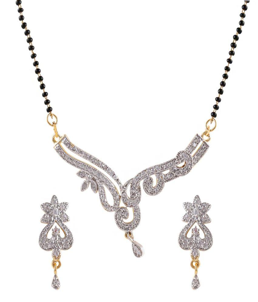 Shelters Silver Brass American Diamonds Mangalsutra Set