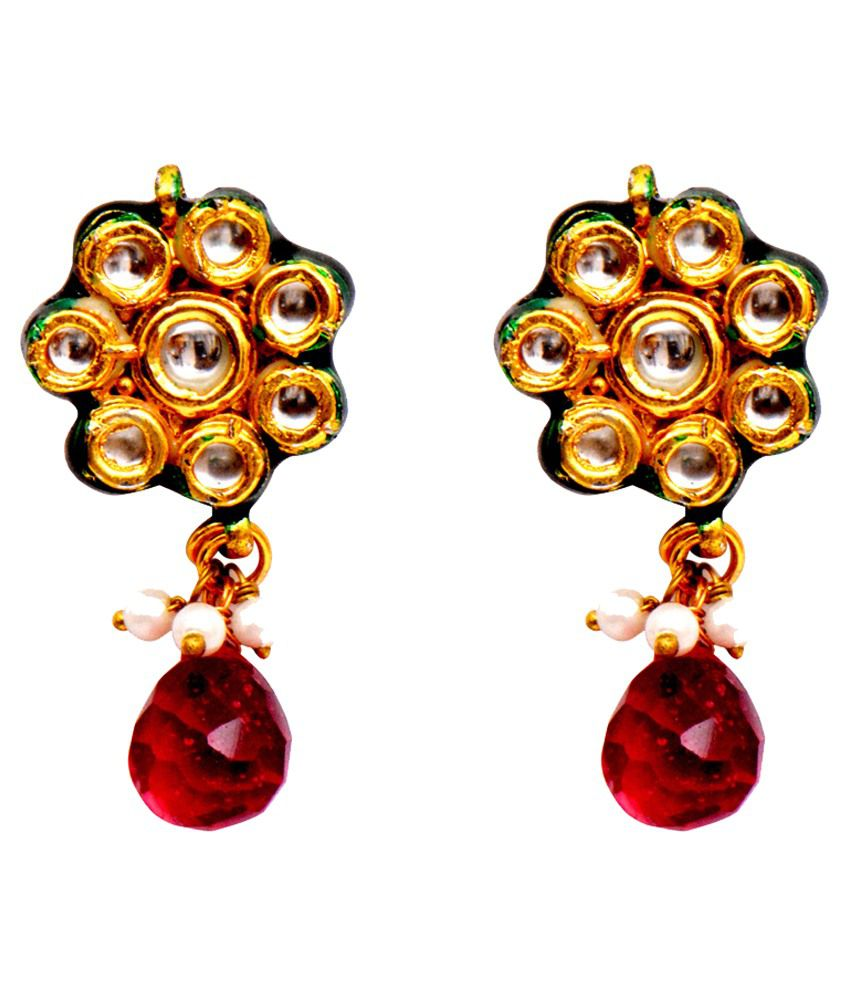 Ratnakar Red Copper Drop Earrings