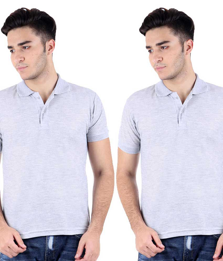 Christy World Grey Half Sleeve Basic Polo T-shirt - Pack Of 2