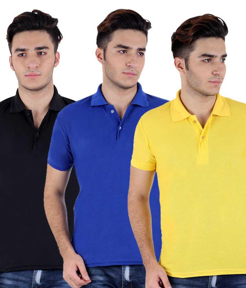 Christy World Multicolor Half Sleeve Basic Polo T-shirt - Pack Of 3
