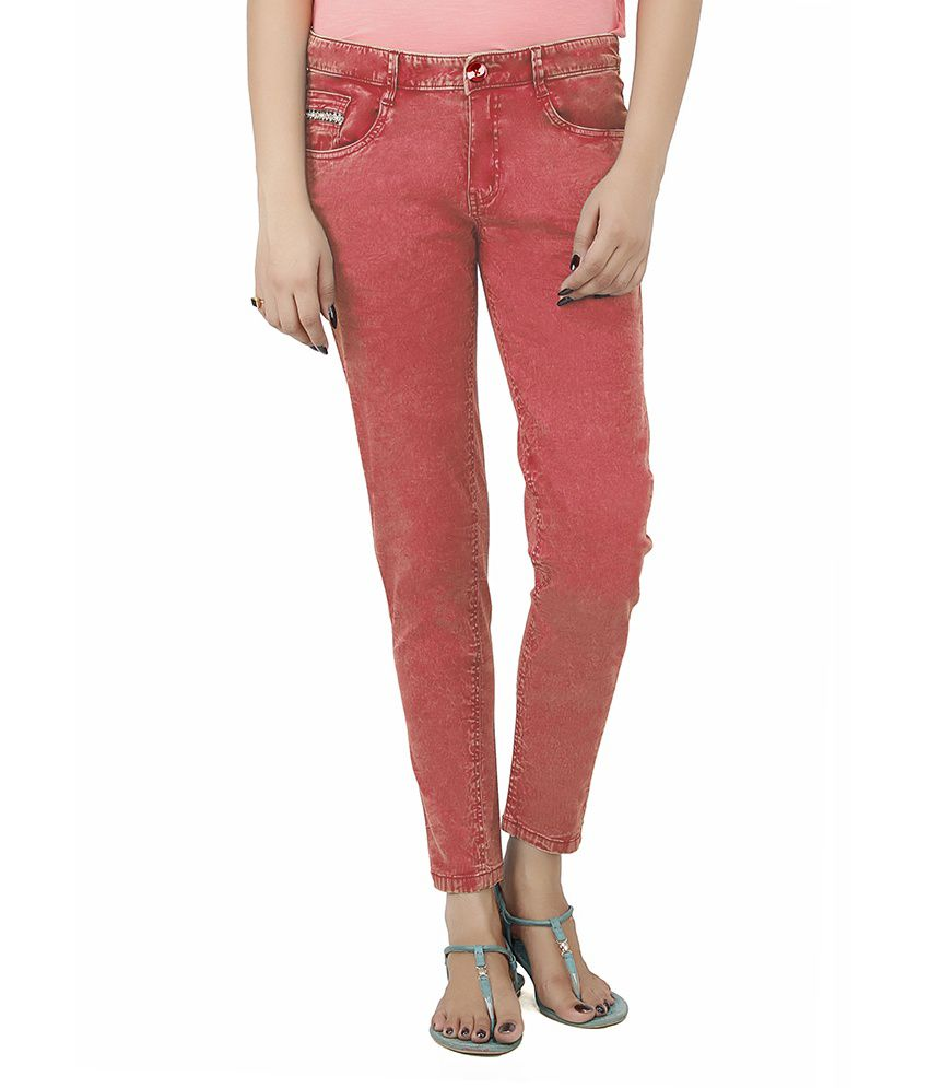 Uber Urban Red Cotton Lycra Jeans