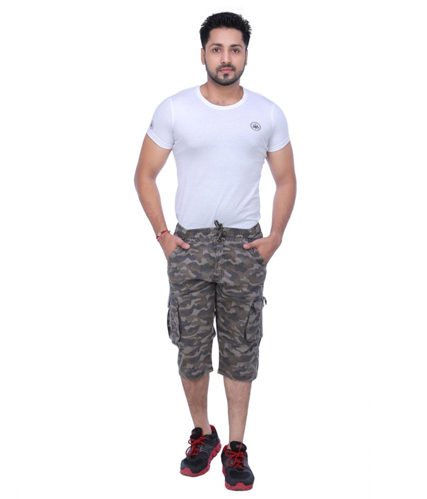 24street Grey Cotton Printed Shorts
