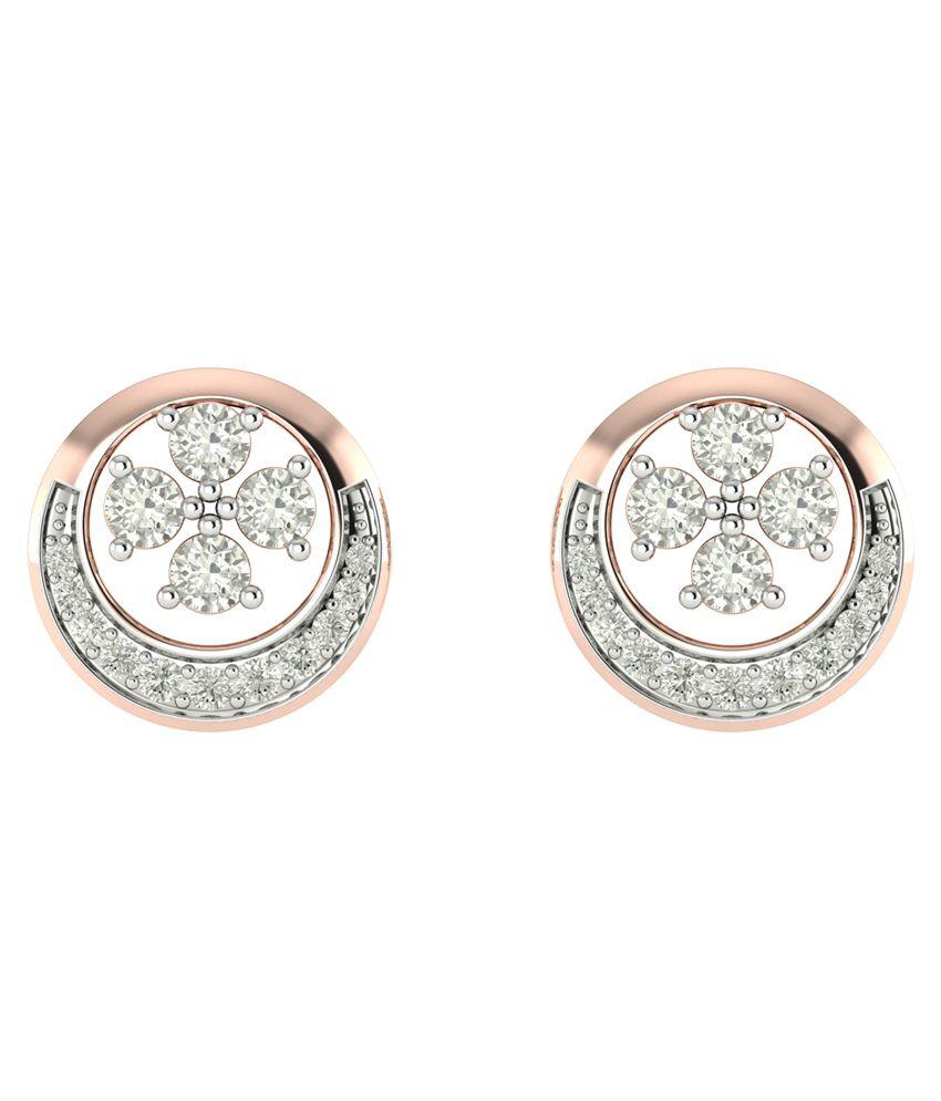 Charu Jewels 18kt Rose Gold Diamond Earrings