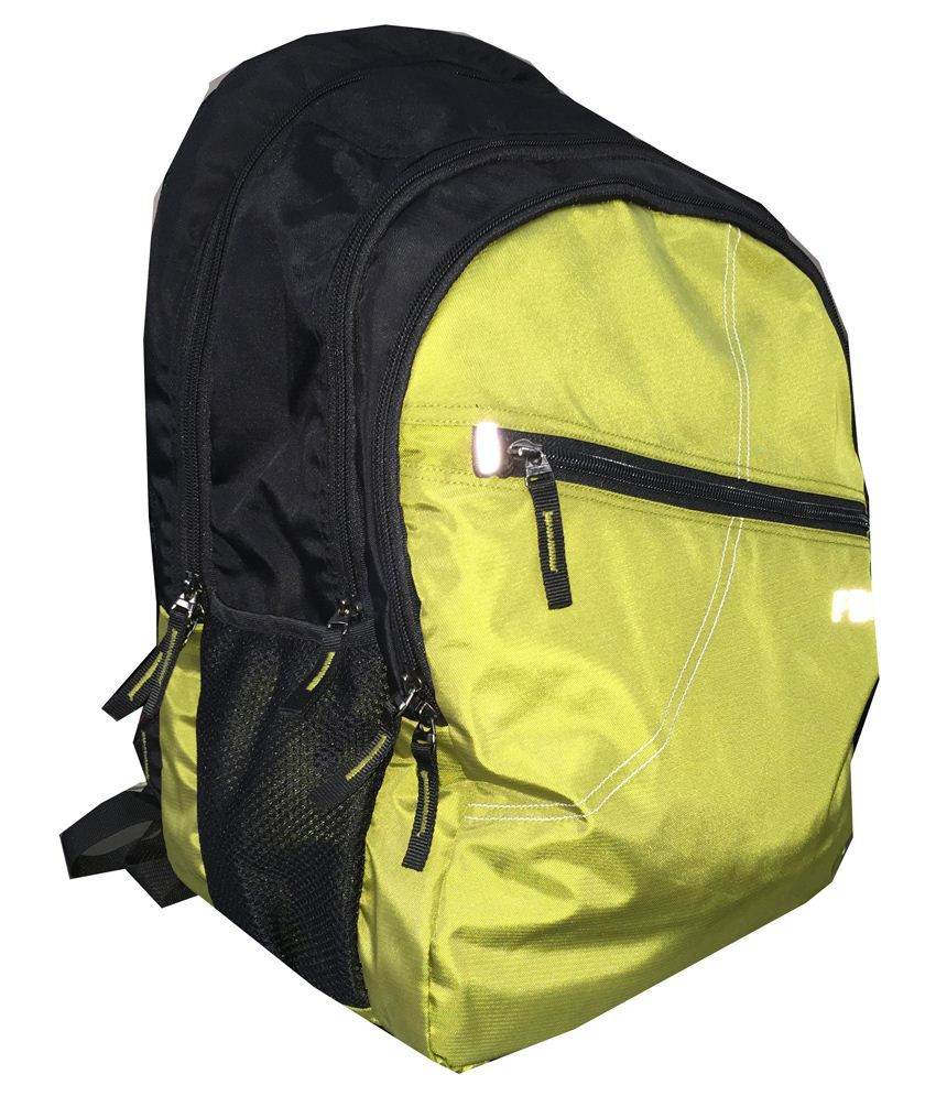 Fabco Polyester Backpack-Black & Yellow