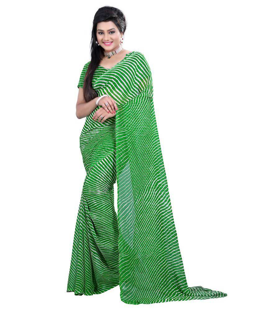 Fashiondeal Green Faux Georgette Saree