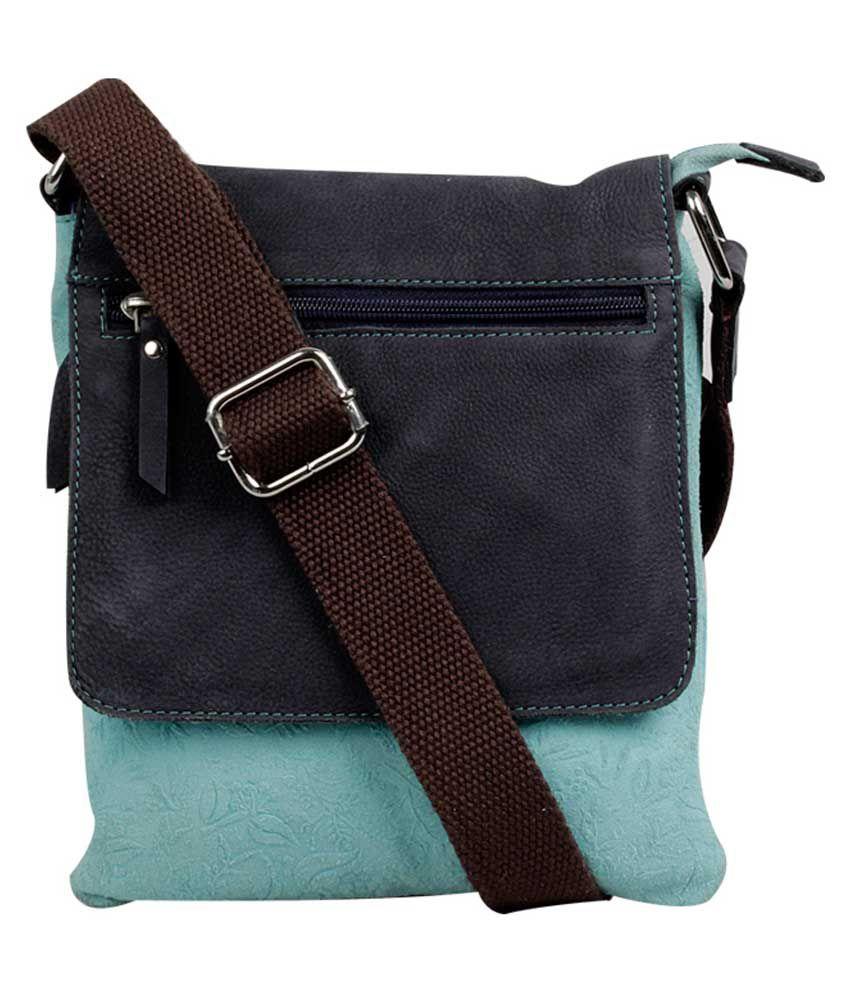 H.u.n.t Blue Leather Sling Bag