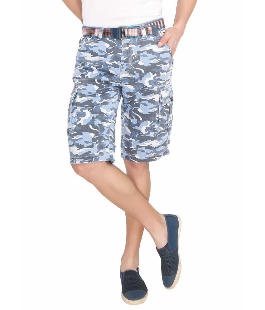 Ld Active Blue Cotton Blend Printed Three Fourths