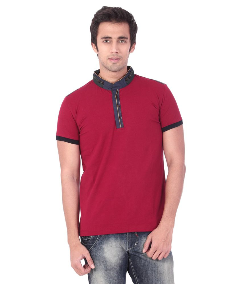 Rugby Maroon Cotton Polo Neck T Shirt