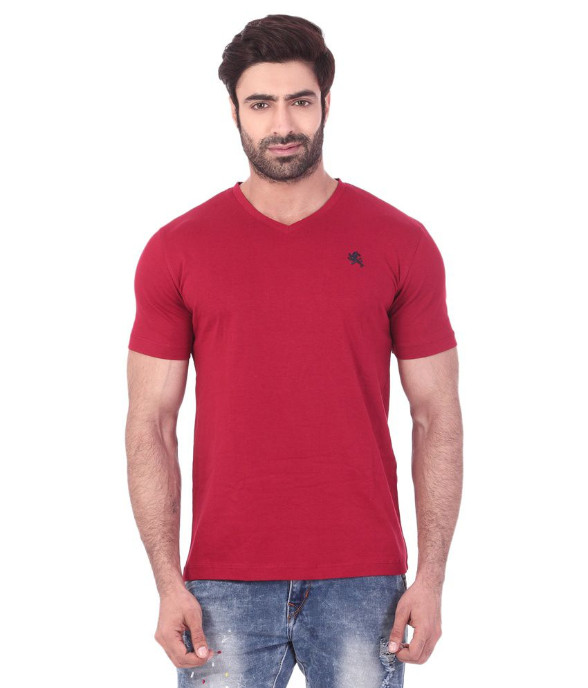 Rugby Maroon Cotton V-neck T Shirt