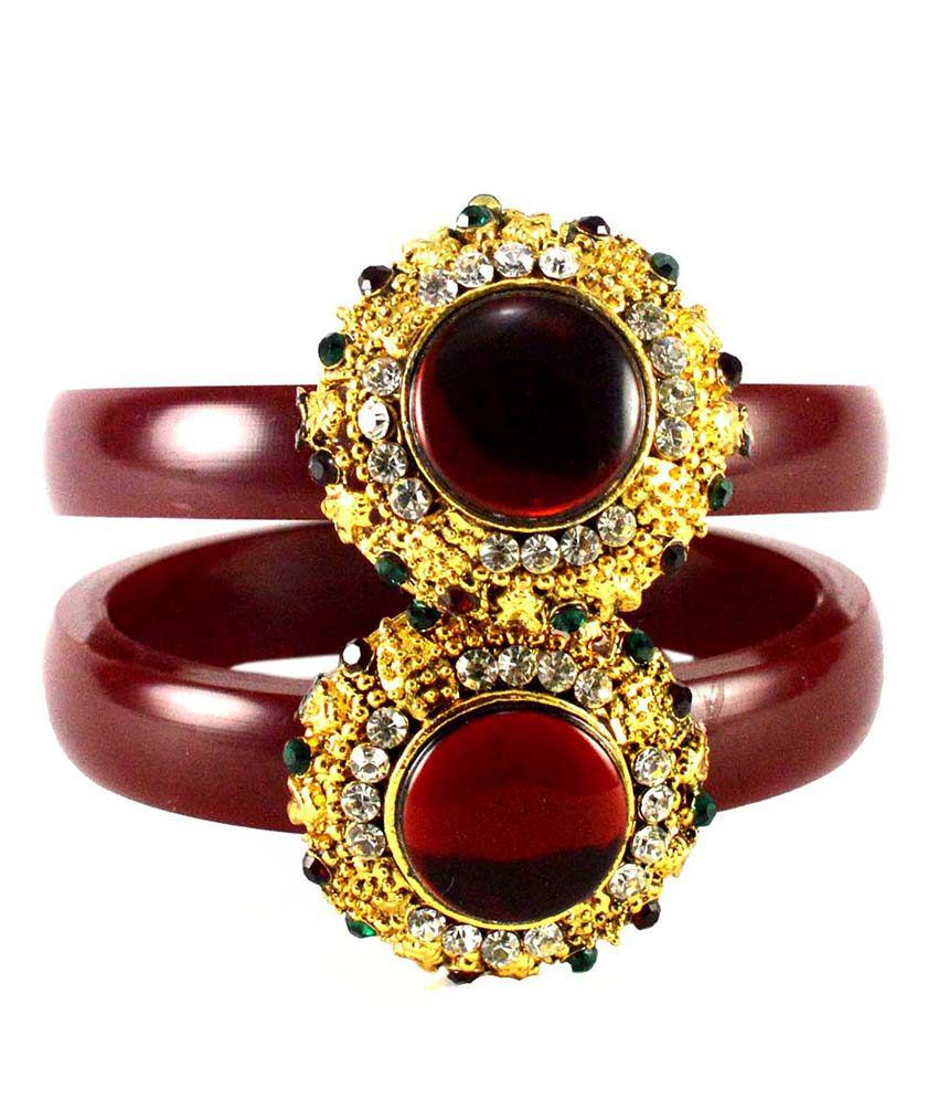 Extra Large Size Maroon Brass Bangles - Pack Of 2
