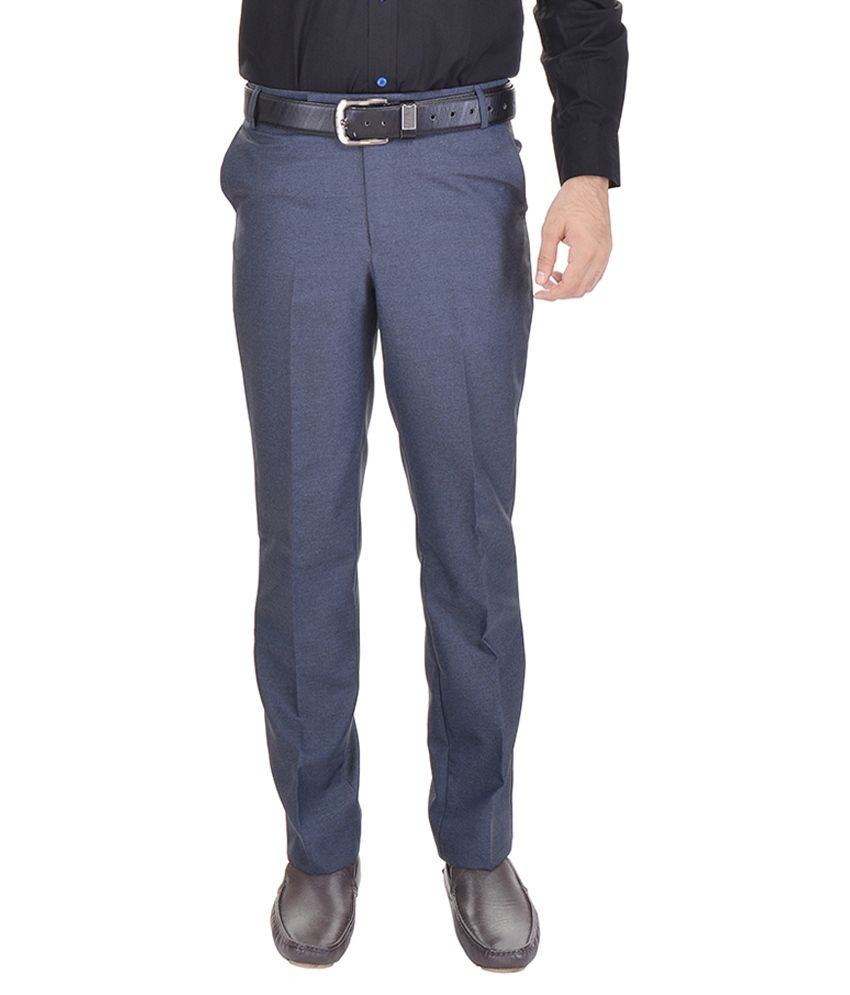 AD & AV Blue Regular Fit Formal Flat Trouser