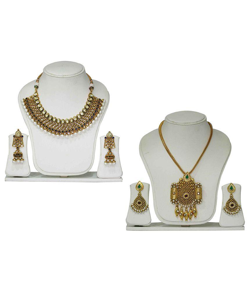 Kadapatla Multicolour Brass Necklace Set Pack Of 2