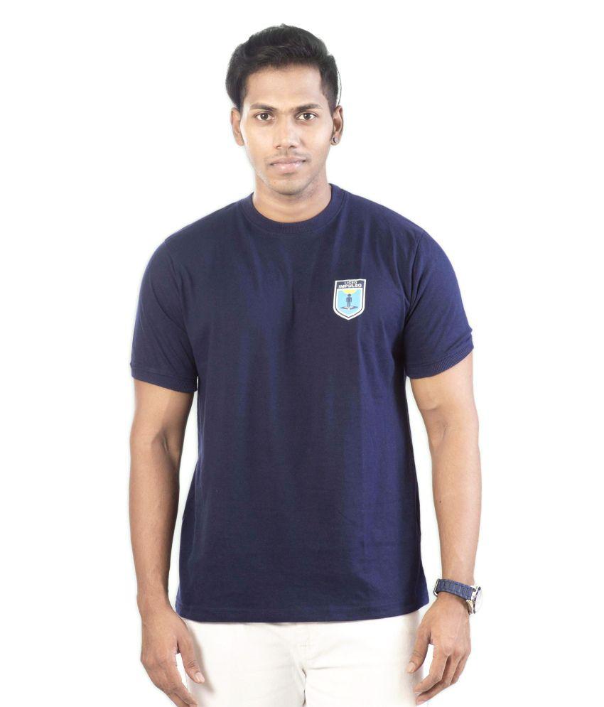 Well On Navy Blue Cotton Blend T-shirt