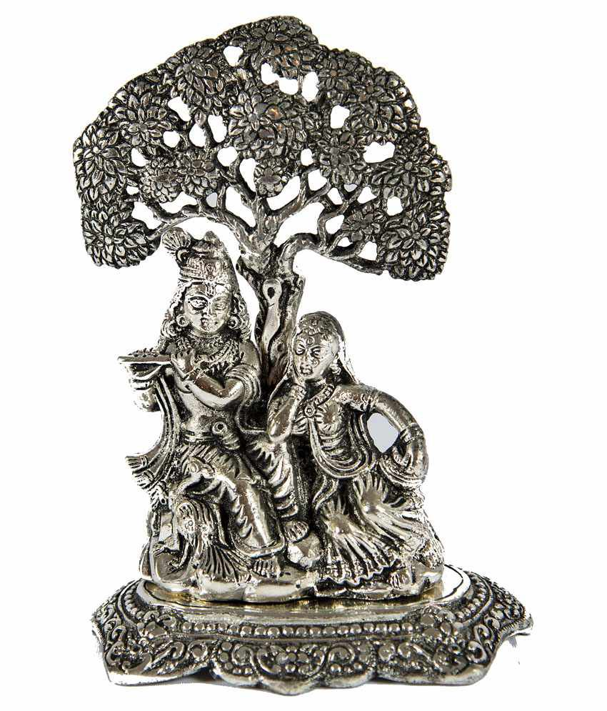 Yk White Metal Radha Krishna Idol Buy Yk White Metal Radha