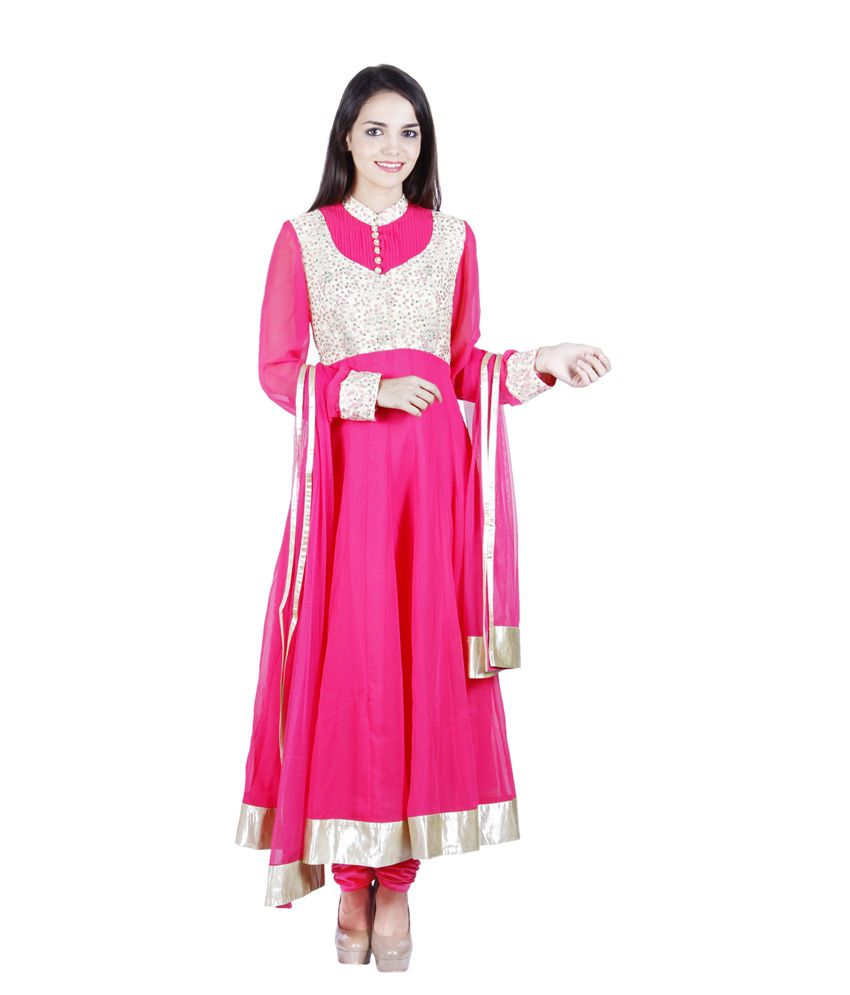 Aarohi Garment Pink Pure Georgette Stitched Suit