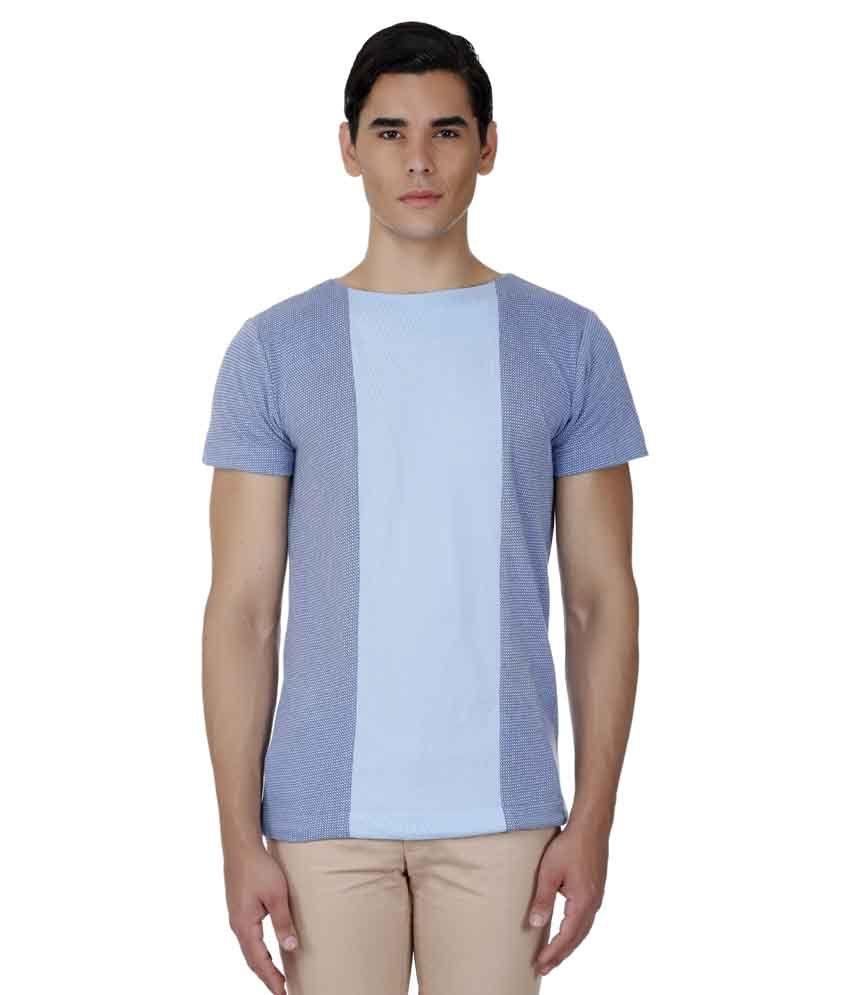 Baba Rancho Blue Cotton Blend T-shirt