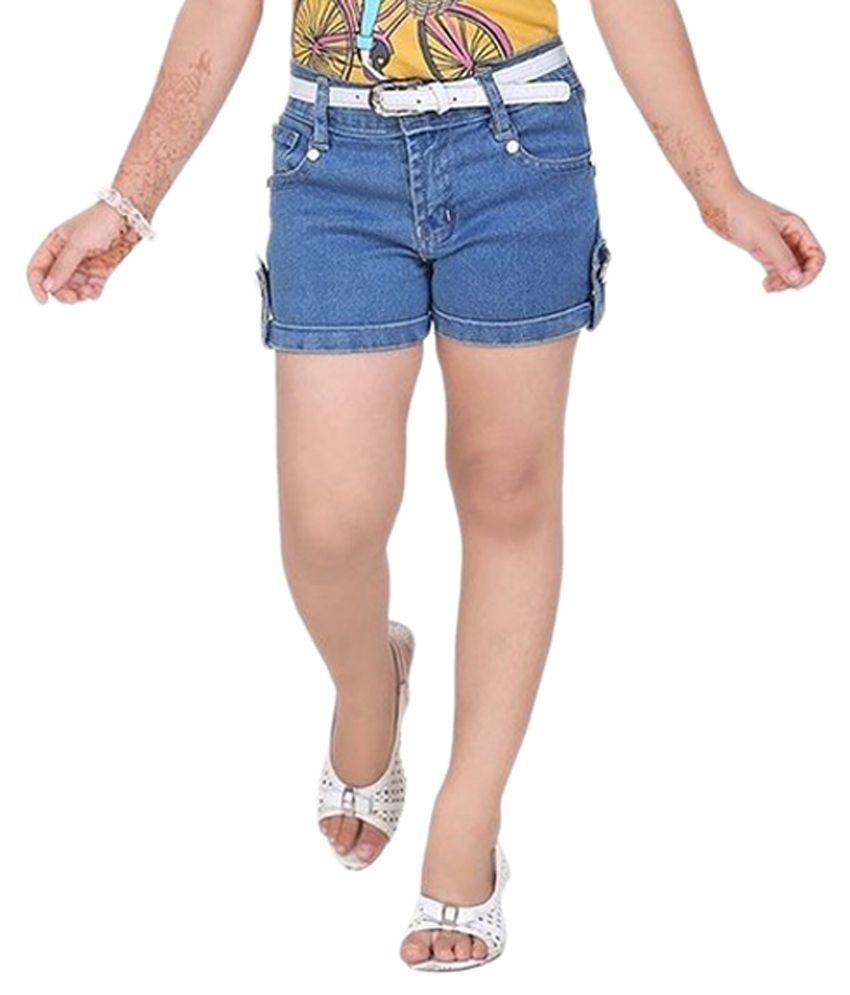 Mint Blue Cotton Shorts