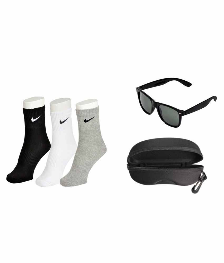 Nike Multicolour Combo of 3 Pair of Socks and Black Wayfarer Sunglasses