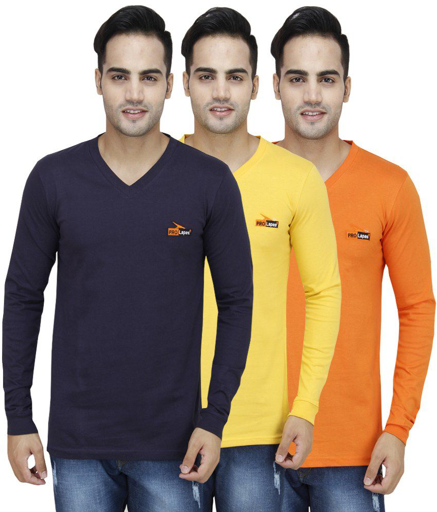 PRO Lapes Multicolor Cotton T - Shirt - Set of 3