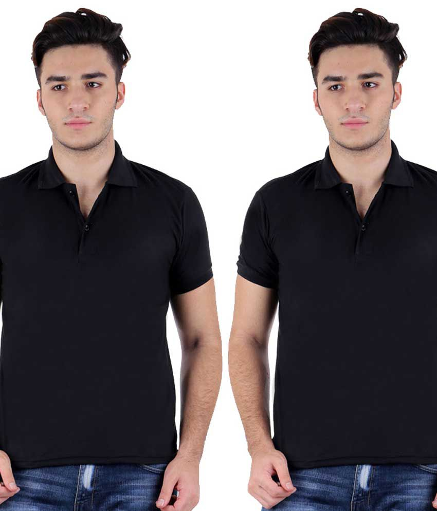 Christy's Collection Black Half Sleeve Basic Polo T-shirt - Pack Of 2