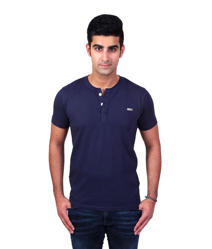 Bridge Navy Blue Cotton Henley T-Shirt