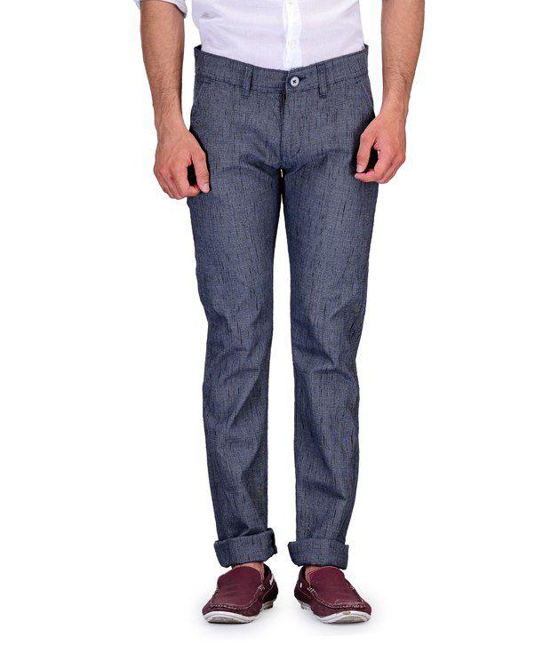Fever Blue Slim Fit Casuals Flat Trouser