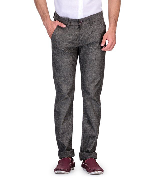 Fever Brown Slim Fit Casuals Flat Trouser
