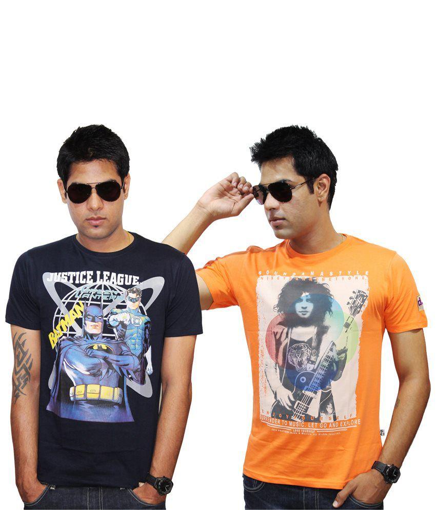 Justice League Pack of 2 Orange & Black Cotton Half Sleeve T Shirts