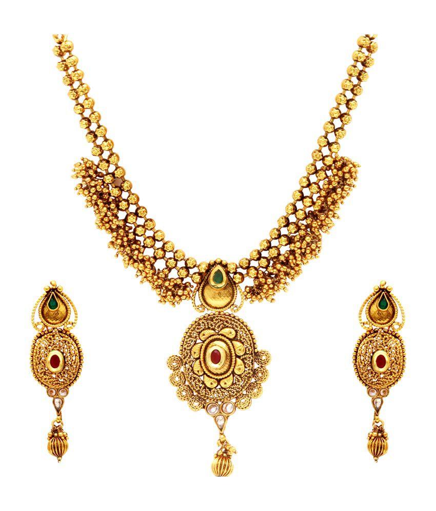 Kushi Gold Plated Ruby Emerald Necklace Set
