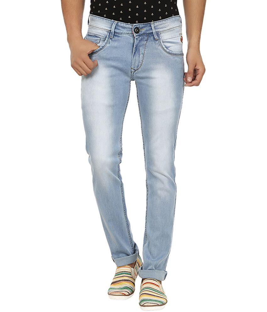 La Marino Blue Cotton Blend Slim Fit Jeans