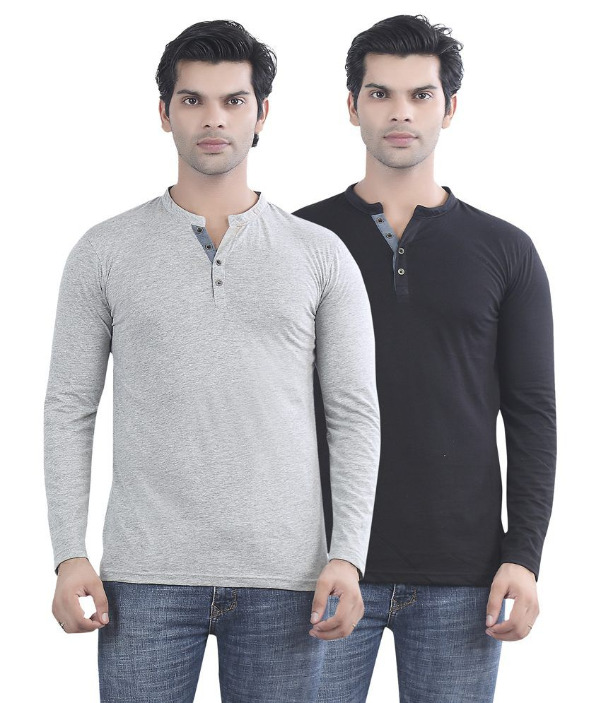 Maniac Grey And Black Cotton T-shirt - Pack Of 2