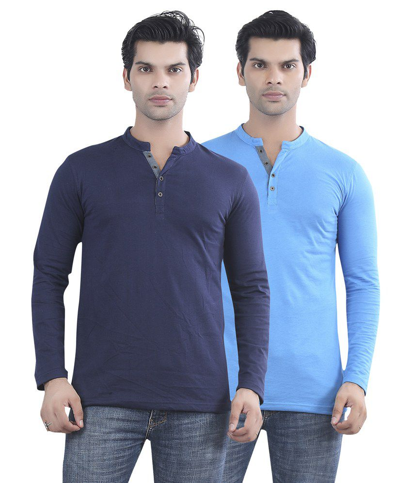 Maniac Navy Blue And Blue Cotton T-shirt - Pack Of 2