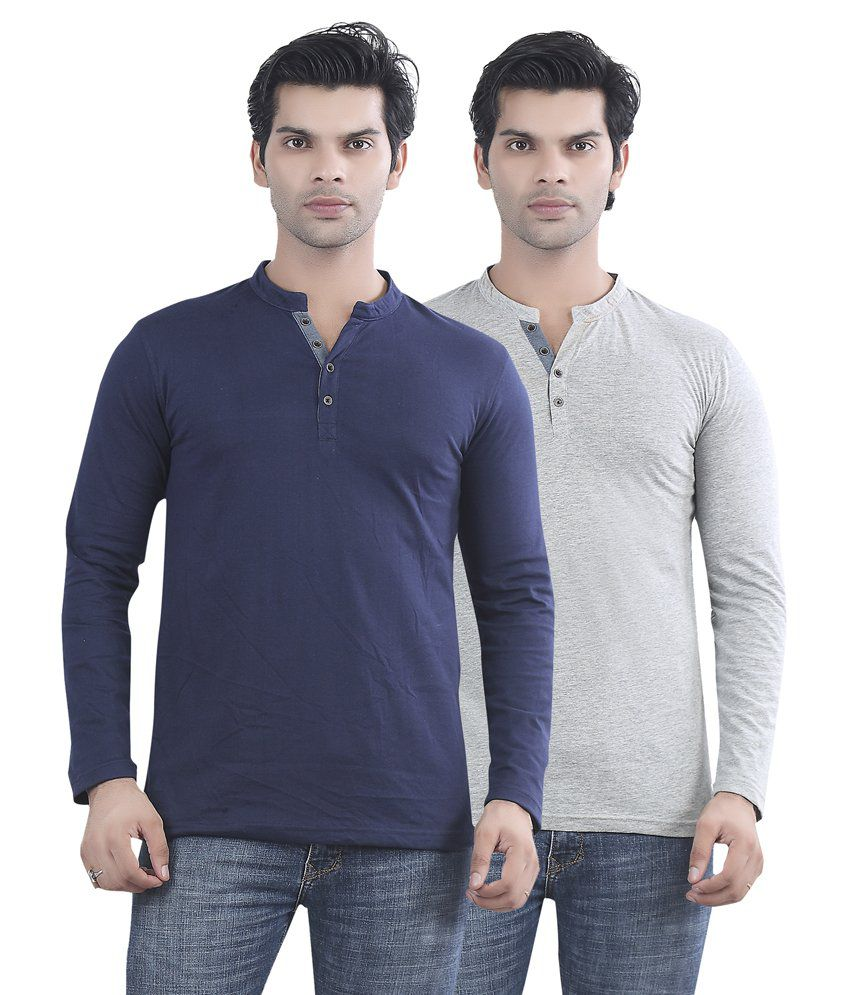 Maniac Navy Blue And Grey Cotton T-shirt - Pack Of 2