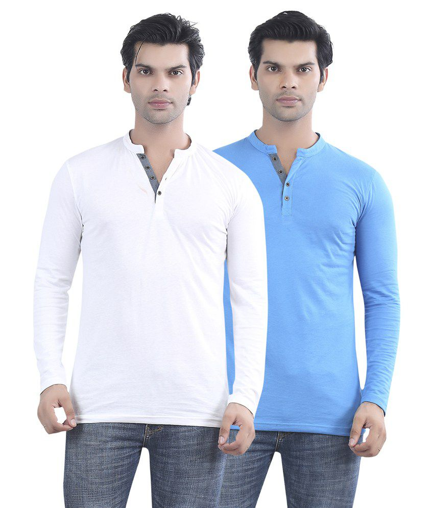 Maniac White And Blue Cotton T-shirt - Pack Of 2