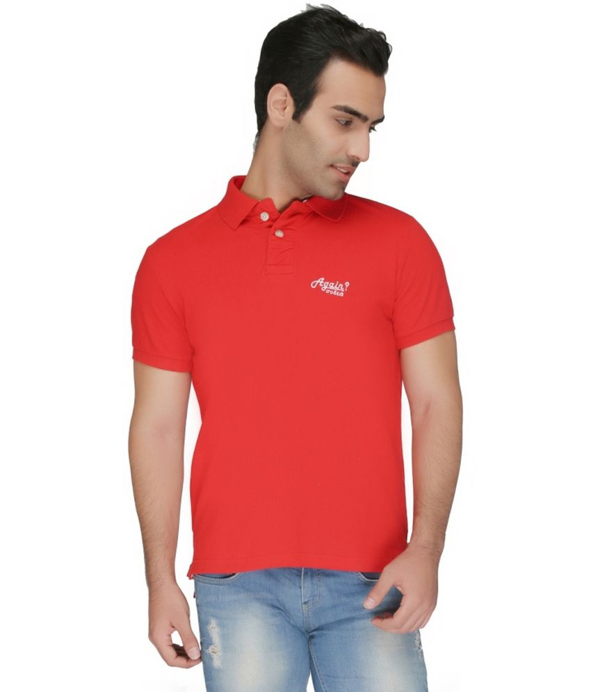 Again? Vintage Red Cotton Polo T-shirt