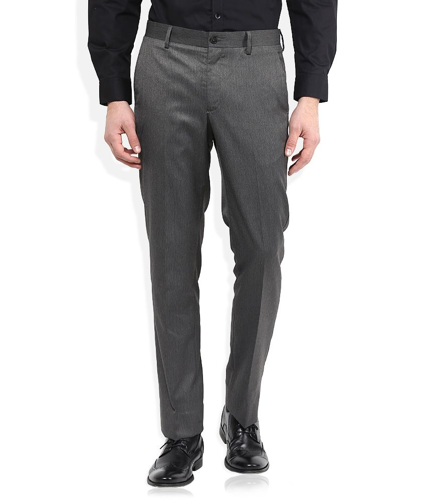 Geoffrey Beene Grey Solid Flat Front Trousers