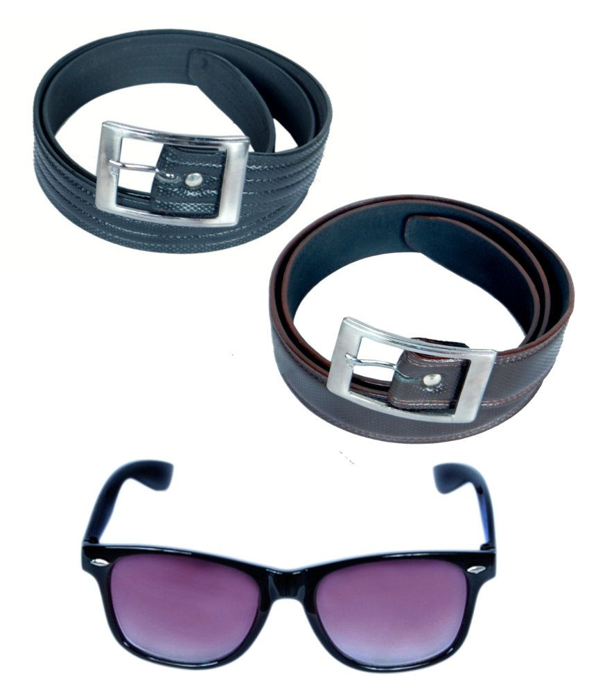 KVELL Be Proud Present's Combo Of Shinning Black , Shinning Brown Belt & Black-Purple Wayfare
