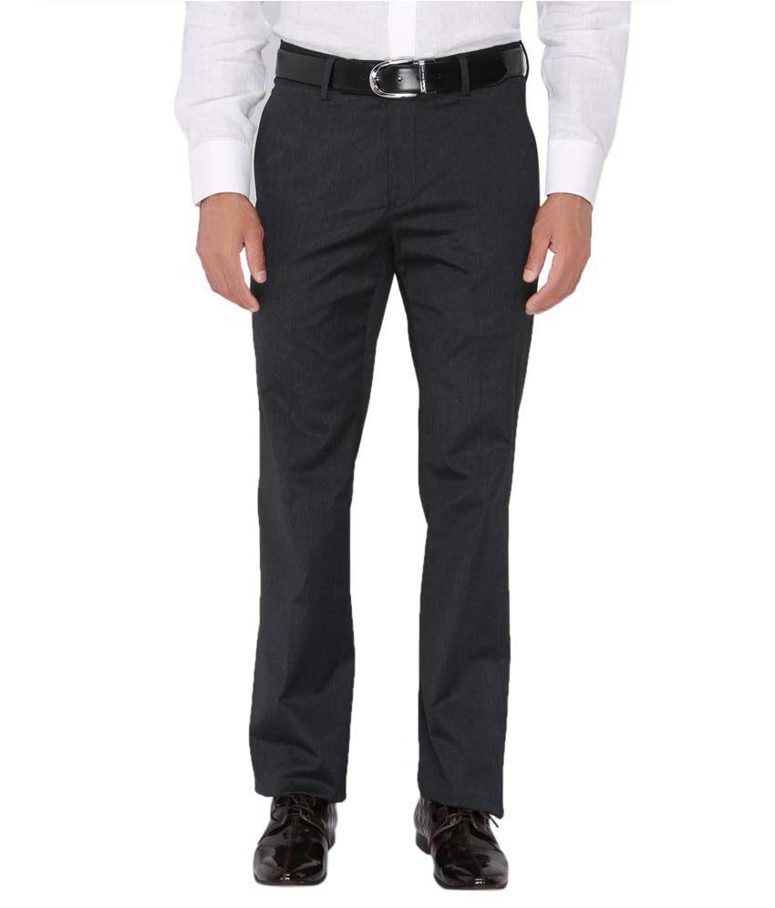 Springfield Blue Slim Fit Casual Flat Trouser