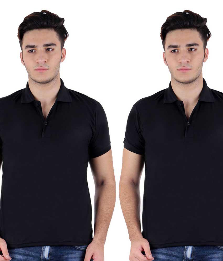 Christy World Black Half Sleeve Basic Polo T-shirt - Pack Of 2
