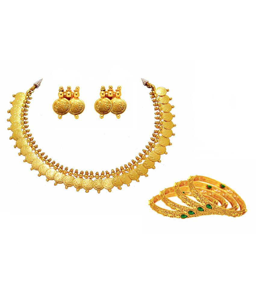 Satyam Jewellery Nx Golden Copper Necklace Set With 4 Bangle