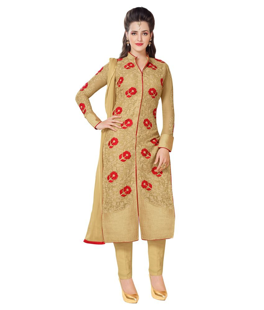 Apple Creation Beige Faux Georgette Semi Stitched Dress Material