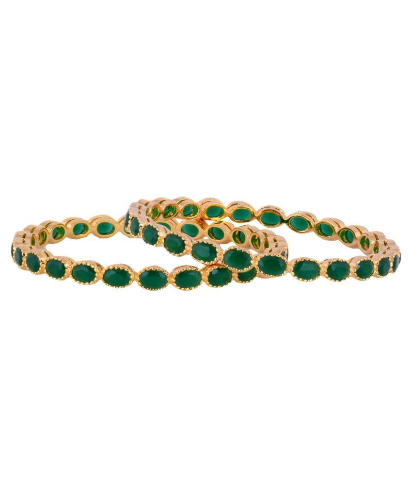 Pearls Cart Green Alloy Bangle Set
