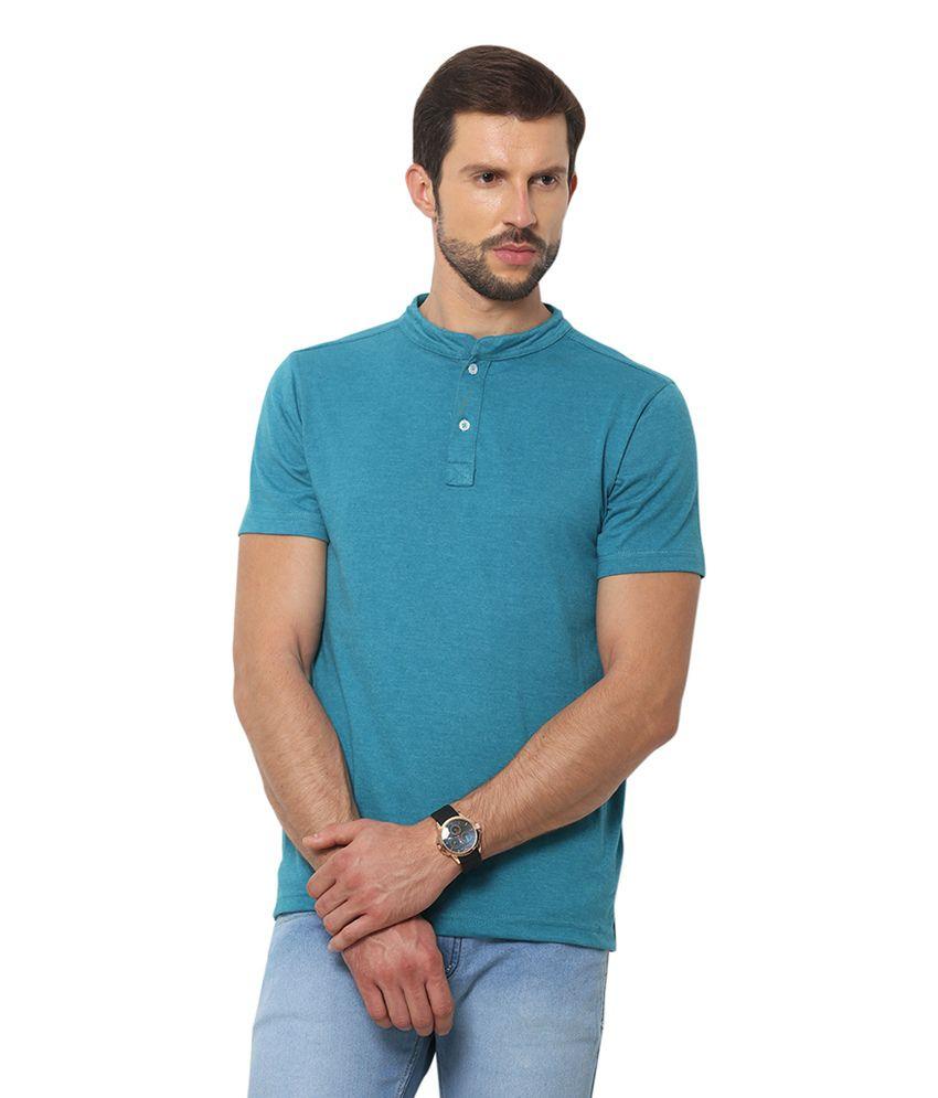 Yepme Blue Cotton Half Sleeves Henley T-Shirt