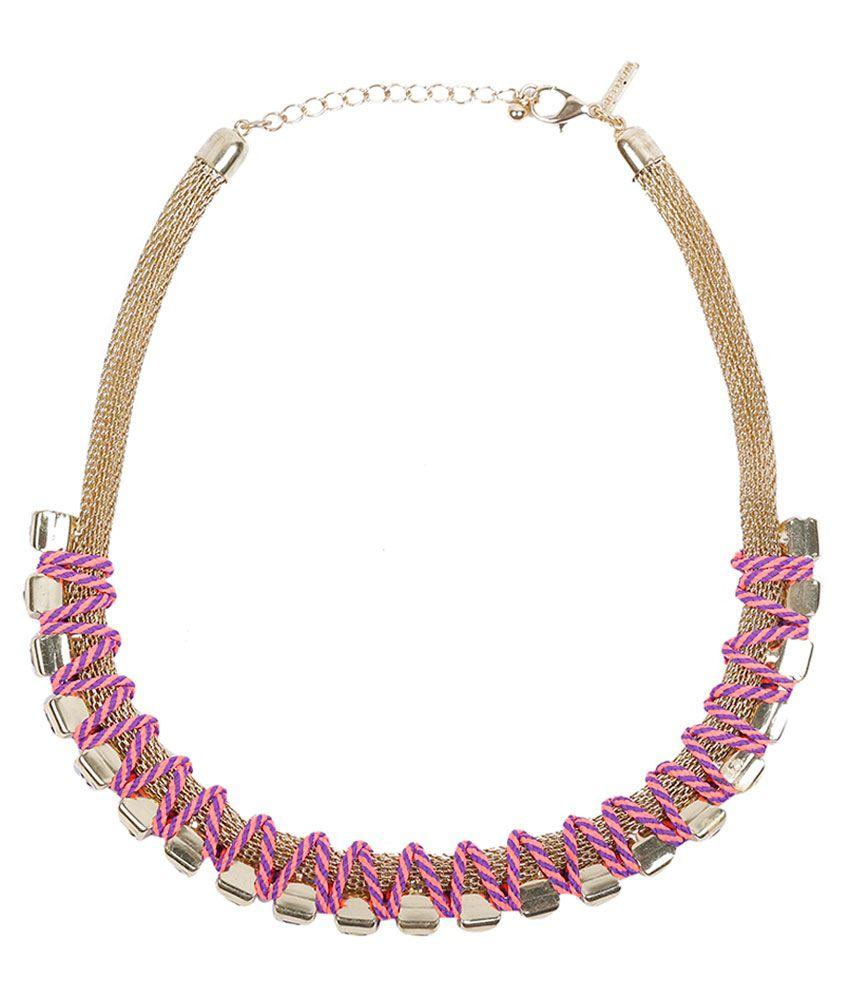 Pout Multicolour Contemporary Brass Necklace