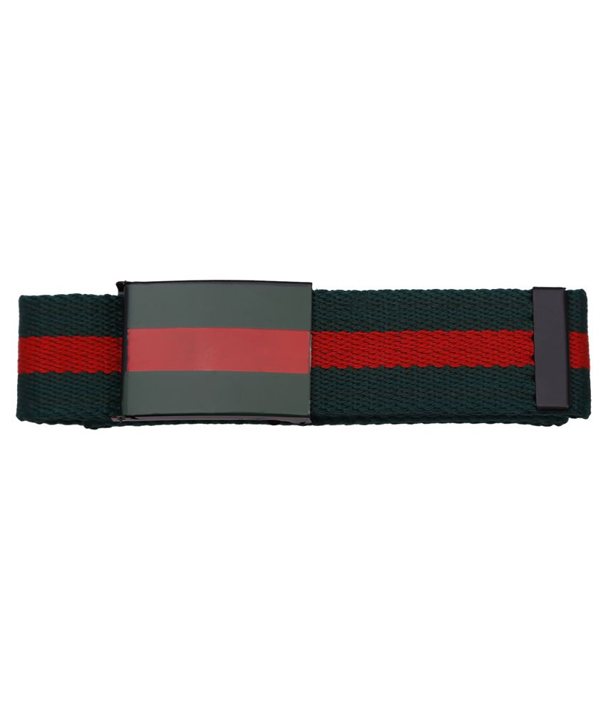 Stylehoops Monochrome Sporty Striped Canvas Leather Belt