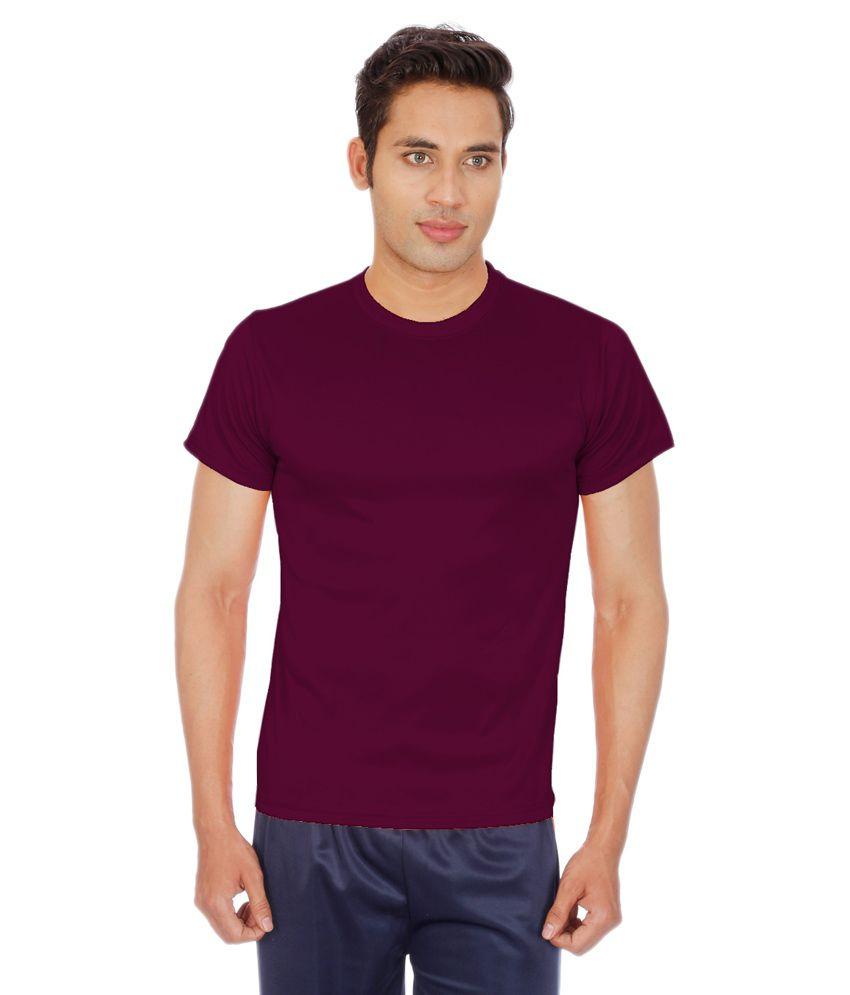 Sportee Maroon Polyester T-Shirt