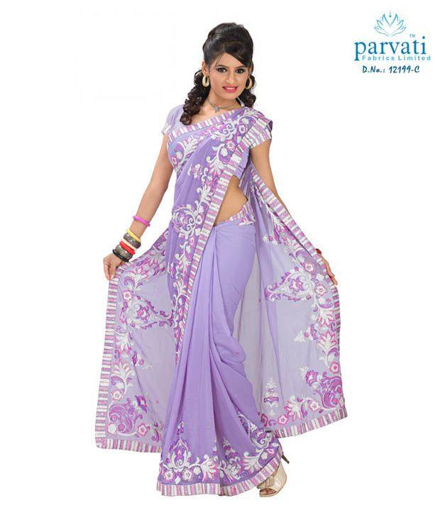 Parvati Sarees Light Purple Georgette Embroidered Saree Buy