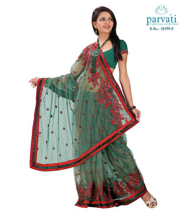 Parvati Sarees Sea Green And Red Net Embroidered Saree Buy Parvati
