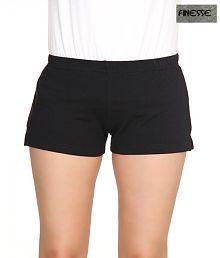 Finesse Black Cotton Shorts